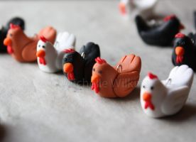 Fimo Chickens by DragonsDust