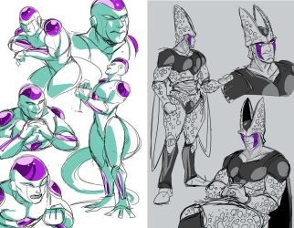 Freeza and Cell Sketches by squarerootofdestiny