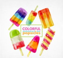 6 Water Painted Summer Colorful Popsicles Vector by FreeIconsdownload