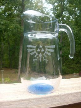 LoZ Royal-Hylian Crest Glass Pitcher - Blue tint by ZombieBunnySlaya