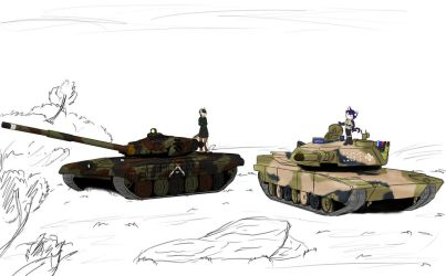 M1 and T-72 by Vizelius