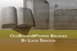 Old books and paper brushes by markyfan