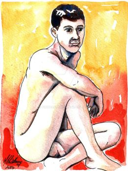 Male Nude. Red + Yellow 3 by Pinkpasty