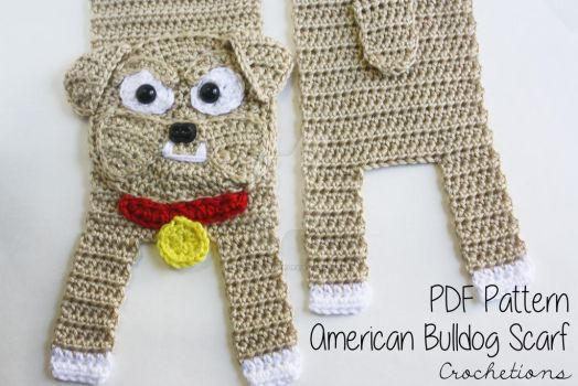 Bulldog Dog Breed Scarf - Crochet Pattern
