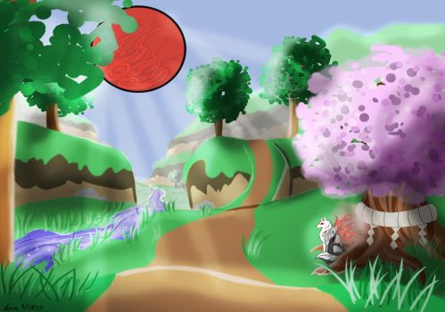 Okami Landscape - Art History III Final by AsiaTheAnimator