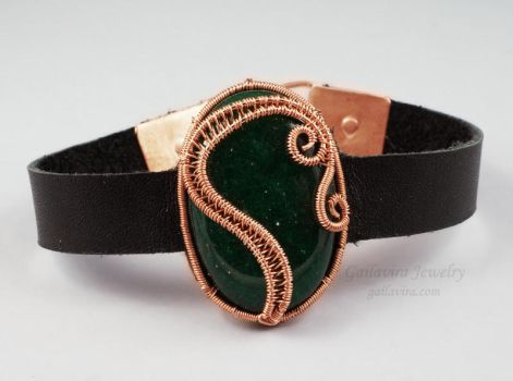 Leather Bracelet with Stone and Wirework Focal by Gailavira