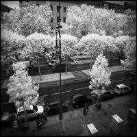 Berlin street view from Apple Store infrared by MichiLauke