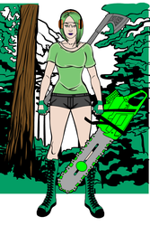 Punk Girl Logger Green by Usaporkchops