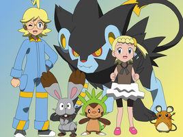 Clemont and his Pokemon (w/Bonnie)