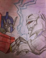 Optimus vs Megatron (colored) by GhostFreak-Artz