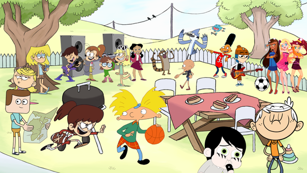Cartoon Characters Having A Crossover Party! by EDMLoud