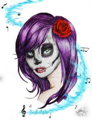Bright Lights Sugar Skull Color by OxBloodrayne1989xO