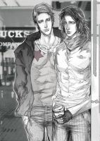 Steve and Bucky in Starbucks by TrixSr