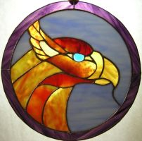 firebird stained glass circle by Ryaskgoldengryph