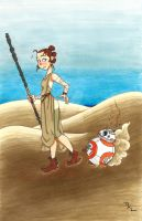 Rey  and BB-8 by RuthALawrence