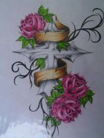 cross banner rose tattoo flash by QueenMab6