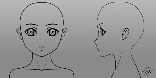 Anime Girl Head Model Sheet 01 by johnnydwicked