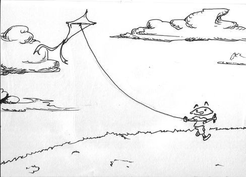 Inktober Day 15 - Kid and his kite by ARX-DM