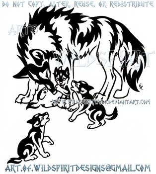 Mother Wolf And Three Pups Tribal Design by WildSpiritWolf