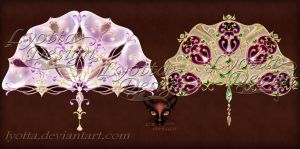 Vintage decorative fans with jewelry ornaments by Lyotta