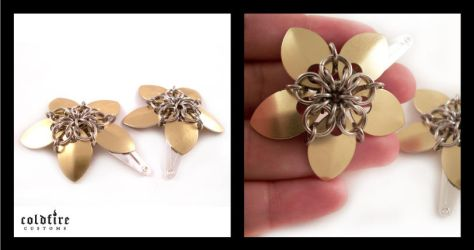 Gold and Silver Flower Clips by coldfirecustoms