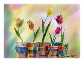 Pots of tulips. Free painting by IrysArt