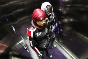 Tali and Shepard in Elevator by ChrixDesign