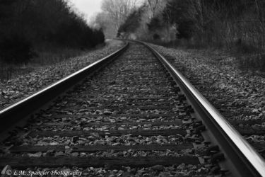 Shallow DoF Railroad-Black and White by emspanglerphotos