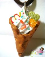 Waffle Cone Ice Cream Necklace by colourful-blossom