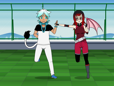 Kisekae: Frost and Jackie Sparing match by FrostTheHobidon