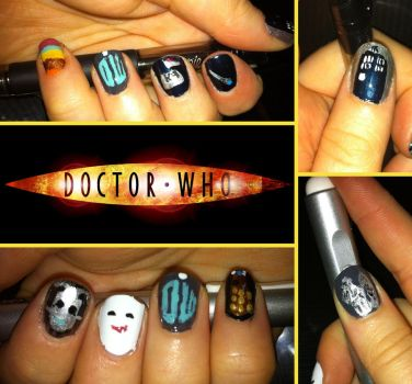 Doctor Who Nail Art by Azralorne