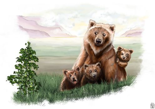 Mother bear and her bear cubs by Gizmoatwork