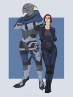 Shepard and Garrus by Maria-Lourana