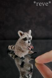 Miniature Raccoon * Handmade Sculpture * by ReveMiniatures