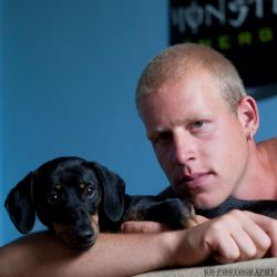 Zsolti and his dog by kgbphoto