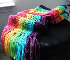 Huge Rainbow Scarf by getmetogradschool