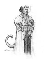 Hellboy with Kitten by rissdemeanour
