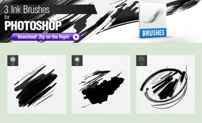 3 Ink Brushes for Photoshop by pixelstains
