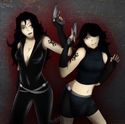 Ada and Nana Action by QueenaKurai