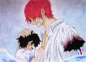 Shanks and Luffy by emcj