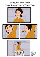 How Chell eats a Reeses Pieces by Doublevisionary