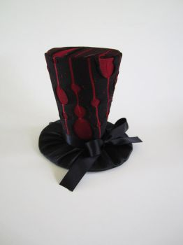 Black and Red Pinstripe Mini Top Hat by MelissaRTurner