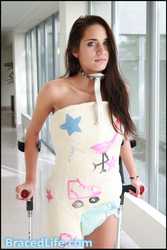 Cheryl in Hip Spica plaster cast with neck ring by MedicBrace