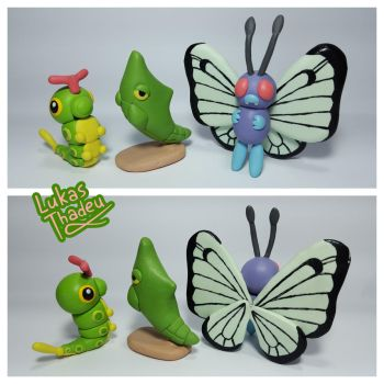 #010Caterpie #011Metapod #012Butterfree by LukasThadeuART