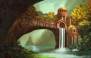 Waterfall temple by Kaeriya