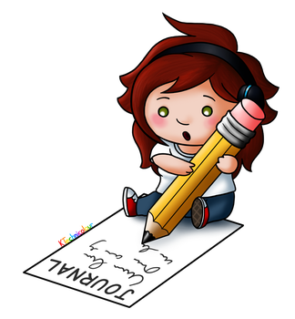 Journal Footer Pencil Chibi by KTechnicolour
