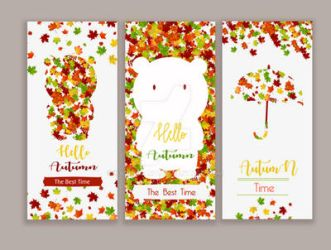 Set of vector banners with bear by kalongart