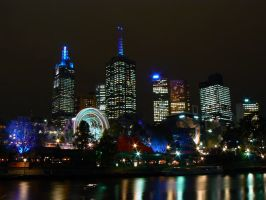 Night time city - Melbourne by Reveak