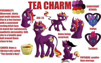 Tea Charm- Character Sheet (2018) by elusiveCONQUEROR