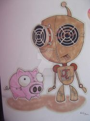 Steampunk GIR and his Robot Piggy by Emily-Draws-Things